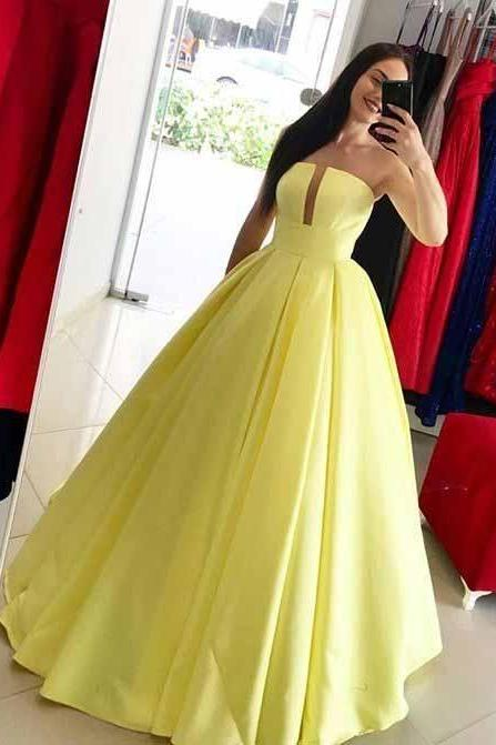 Princess Yellow Ball Gown Simple Strapless Long Prom Dress M8348