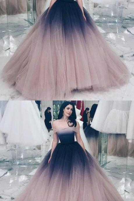 Off-the-Shoulder Ball Gown Prom Dress with Sleeves Ombre Evening Dress M8349