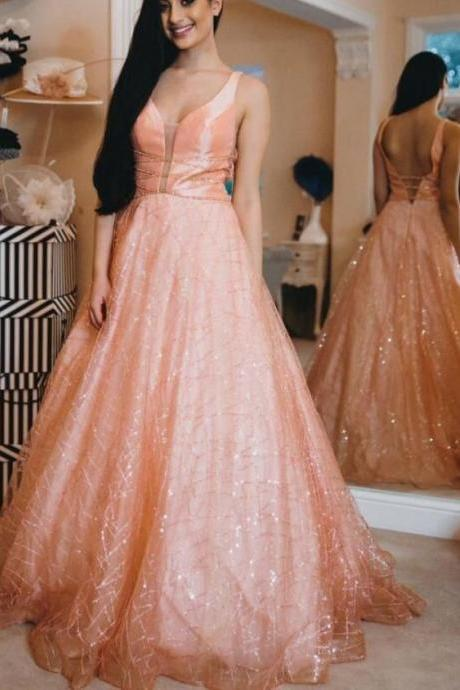 Sparkly Glitter A-line Pink Long Prom Dress Ball gown dress M8351