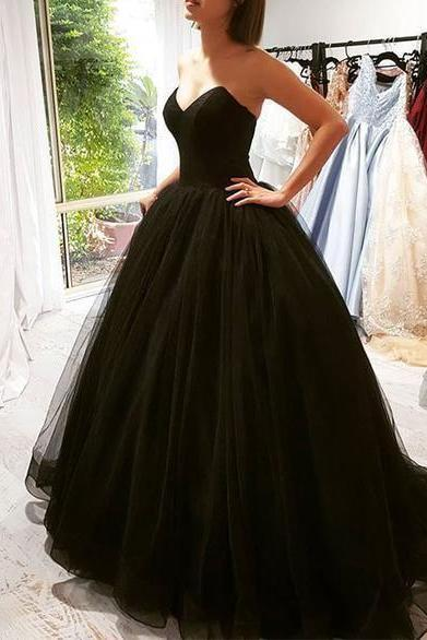 Black tulle long prom gown, black evening dress M8352