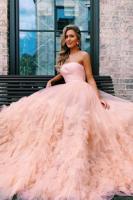 Strapless Pink/Red/Blue Tulle Prom Dress, Beautiful Prom Dresses, Evening Party Dress M8353