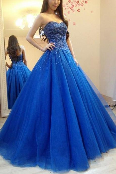 Elegant Tulle Royal Blue Ball Gown Prom Dress, Beaded Quinceanera Dress, Formal Dress M8354