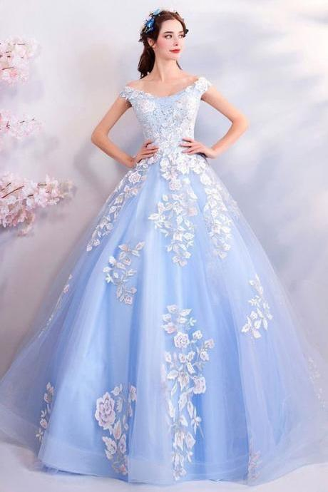 Light Blue Ball Gown Prom Dress Formal With Off Shoulder Flowers M8355