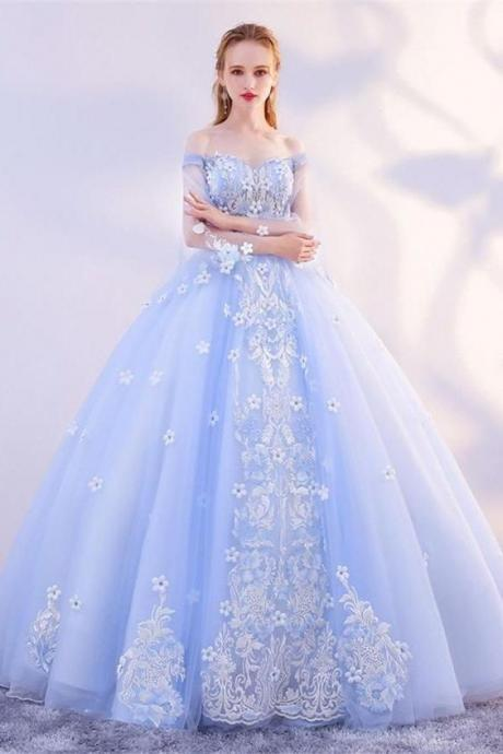 Charming Off The Shoulder Lace Up Ball Gown Princess Prom Dresses M8356