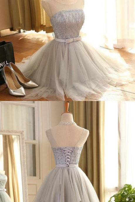 A-Line Spaghetti Straps Short White Satin Homecoming Dress with Lace M8358