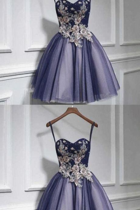 Cute tulle lace sweetheart neck short prom dress M8360
