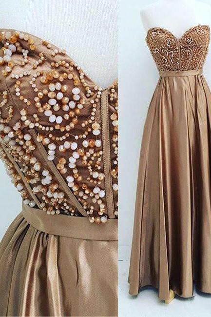 New Arrival gold sweetheart neck beaded long prom dress, evening dress