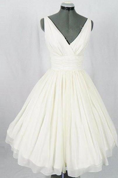 homecoming dresses,white v neck chiffon short prom dress, homecoming dress Prom Dresses for Teens