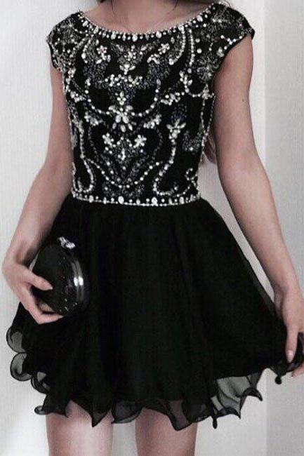 homecoming dresses,black tulle sequin short prom dress, cute homecoming dress