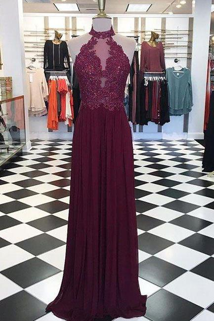 New Arrival burgundy maroon hight neck lace long prom dress, maroon evening dress