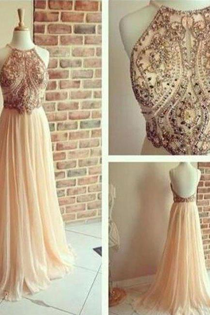 New Arrival a line chiffon backless beading, sequin long prom dresses