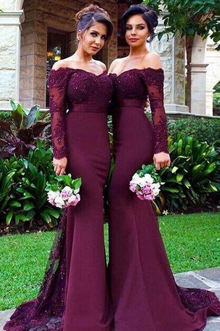 bridesmaid dress,unique maroon lace mermaid long prom dress, burgundy bridesmaid dress