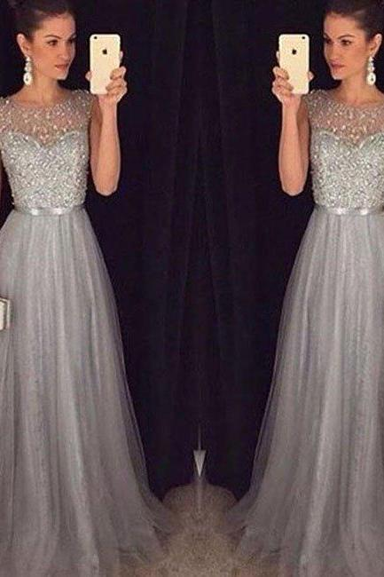 prom dresses,New Arrival a-line round neck tulle sequin long prom dress for teens, unique evening dress