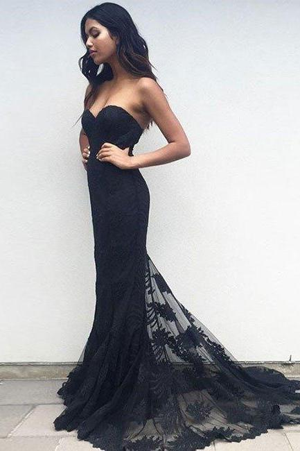 prom dresses,New Arrival black sweetheart neck lace train long prom dress, black evening dress