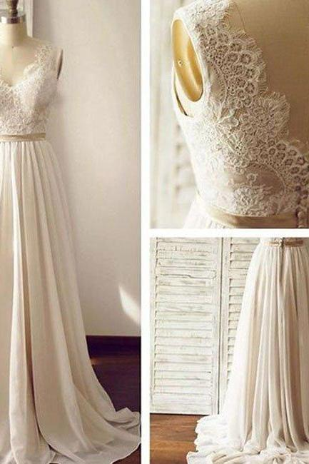 wedding dresses,white a-line v neck chiffon lace long prom dress, bridesmaid dress