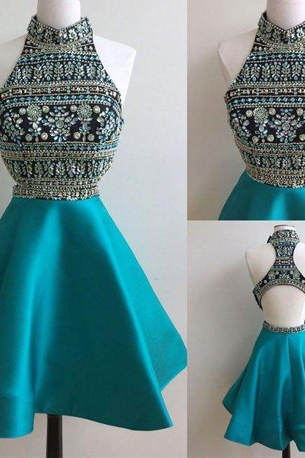 homecoming dresses,green high neck rhinestones short prom dress, cute homecoming dress