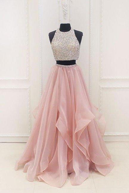 prom dresses,unique two pieces sequin pink long prom dress, evening dress