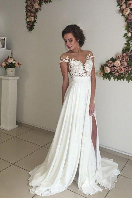 prom dresses,ivory chiffon lace round neck long prom dress, evening dress