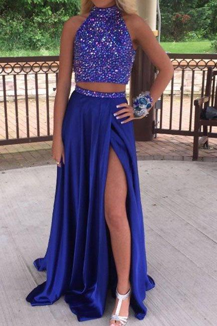 prom dresses,New Arrival royal blue sequin chiffon two pieces long prom dress, formal dress