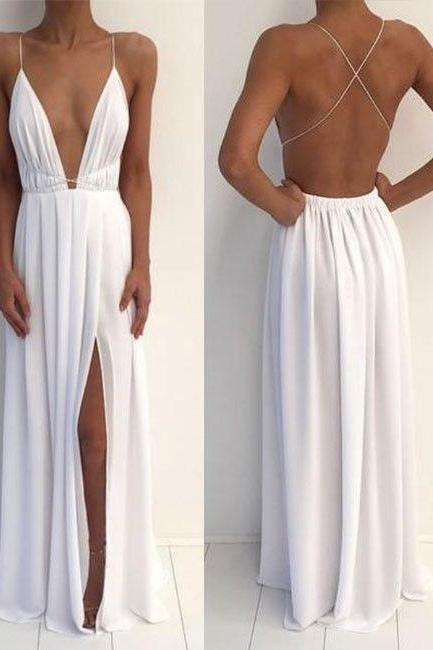 prom dresses,New Arrival simple a-line backless long prom dress for teens, evening dress