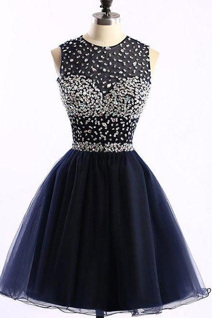 homecoming dresses,dark blue tulle short prom dress, cute homecoming dress