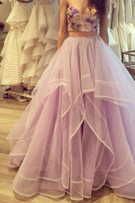 prom dresses,sweetheart neck 2 pieces long prom dress, evening dress