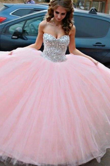 prom dresses,sweetheart neck rhinestone tulle long pink prom gown, evening dress
