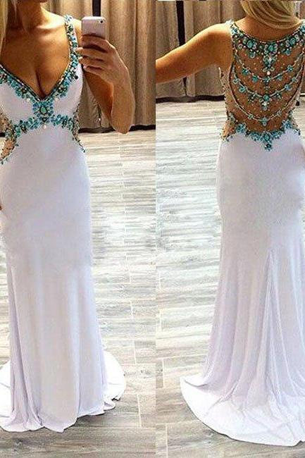 prom dresses,white a-line v neck rhinestone long prom dress, formal dress