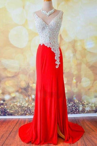 prom dresses,a-line v neck sequin long red prom dress, evening dress