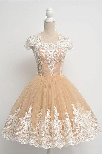 homecoming dresses,champagne tulle lace short prom gown, homecoming dress, bridesmaid dress