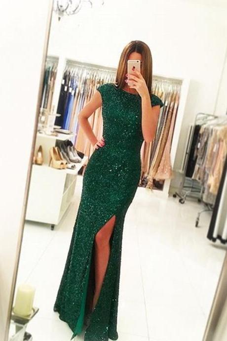 Green Prom Dress,Sequins Prom Dress , Mermaid Prom Dress , Sexy Slit Prom Gown, Long Prom Dress, Special Occasion Gowns, Prom Dress