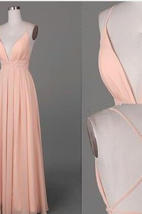 Pink Chiffon Plunge V Spaghetti Straps Floor Length Chiffon A-Line Prom Dress Featuring Criss-Cross Open Back