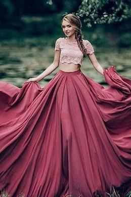 prom dress,burgundy Red A-line two pieces long lace prom dress, formal dress