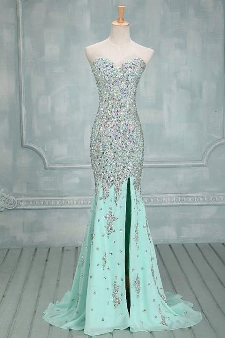 prom dress,Sexy Prom Dress,Mint chiffon beaded sweetheart slit floor-length evening dresses