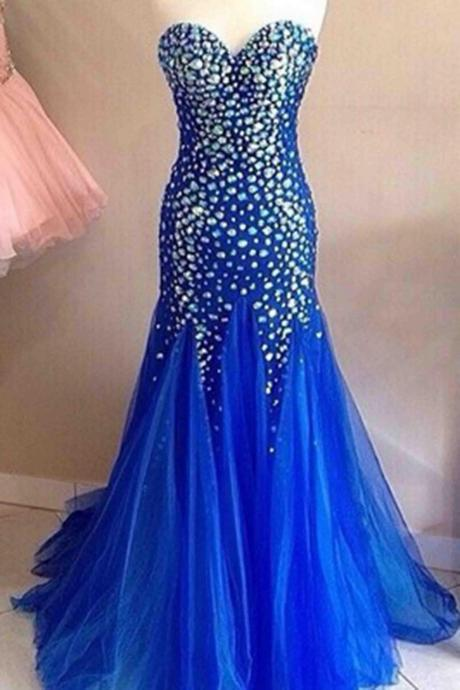 prom dress,Sexy Prom Dress,beading sweetheart evening dress,mermaid strapless royal blue prom dress