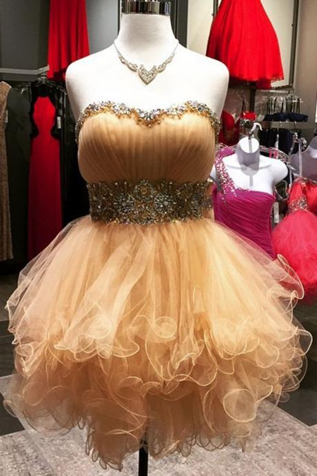 homecoming dresses,Champagne sweetheart beading short dress,strapless cute dress
