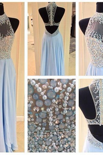 prom dresses,Sexy Prom Dress,sky blue chiffon A-line beads and sequins long prom dress, evening dress
