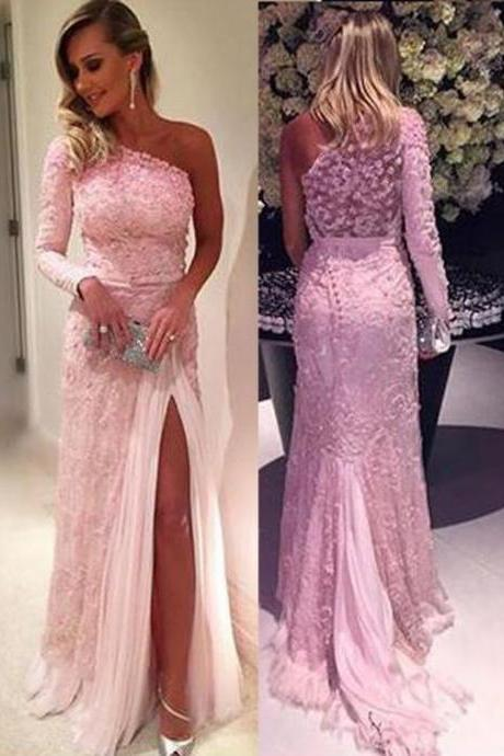 prom dresses,Sexy Prom Dress,Stylish One Shoulder Long Sleeve Sweep Train Pink Lace Prom Dress