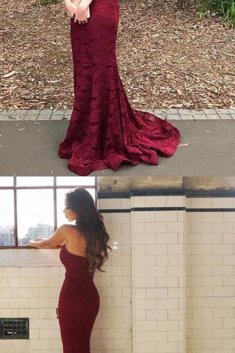 prom dresses,Sexy Prom Dress,2017 prom dress burgundy lace prom dress long sweatheart prom dress