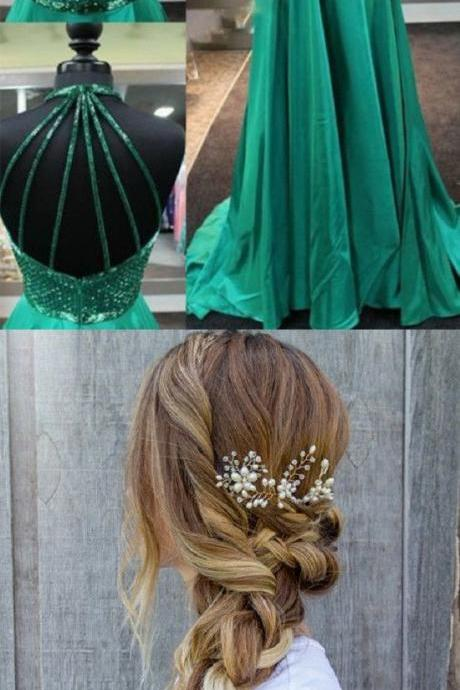prom dresses,Sexy Prom Dress,Delicate Jewel Sleeveless Sweep Train Emerald Green Dress with Beading Backless