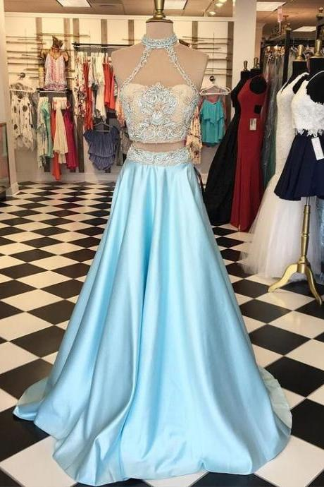prom dresses,Sexy Prom Dress,2017 prom dresses,two piece prom dresses,blue prom dresses,halter prom dresses,blue prom dreses