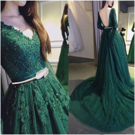 Dark Green Long Sleeves Backless Applique Long Prom Dresses M00063