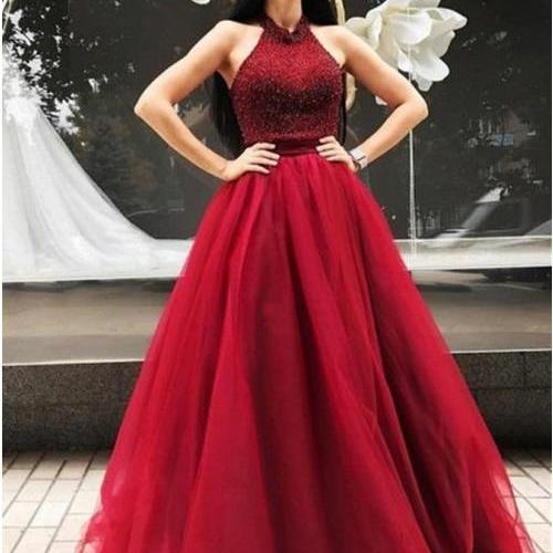 A-Line Halter Backless Sweep Train Red Prom Dress with Beading M1462