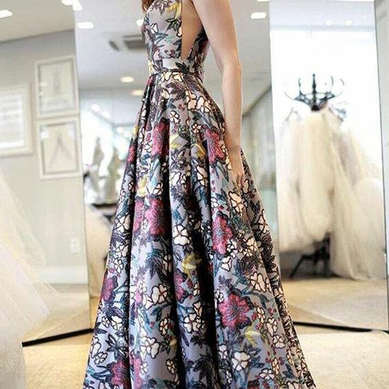 A-Line V-Neck Sweep Train Multi Color Printed Backless Prom Dress M1464