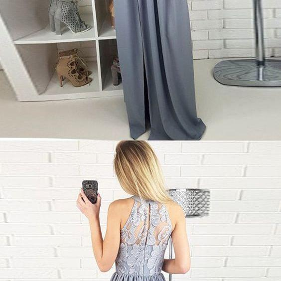 A-Line Round Neck Split Front Floor-Length Grey Satin Prom Dress with Lace M1466
