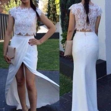Two Piece Prom Dress/Evening Dress - White Mermaid Crew Neck Floor Length Cap Sleeves M1467