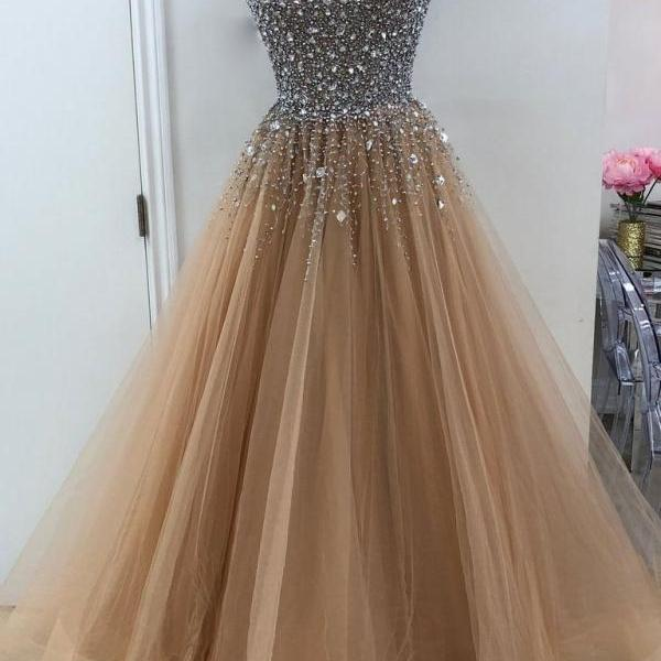 Sweetheart A line Beaded Tulle Long Custom Evening Prom Dresses M1885