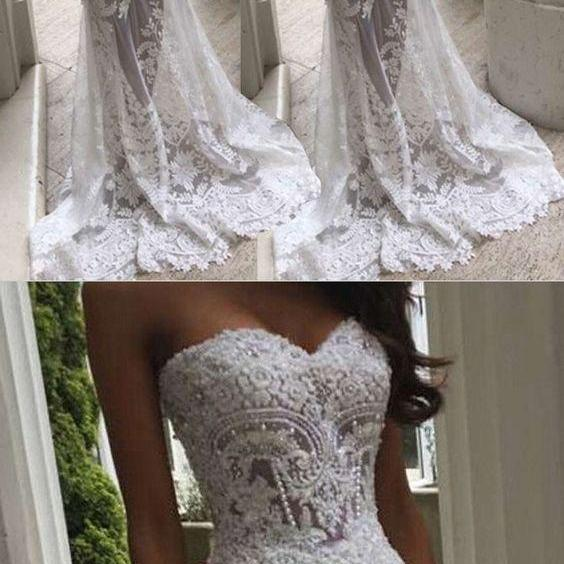 white wedding dresses,lace wedding dresses,mermaid wedding dresses,modest wedding dresses M4333