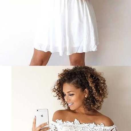 A-LINE OFF-THE-SHOULDER HALF SLEEVES WHITE HOMECOMING DRESS WITH LACE M4686