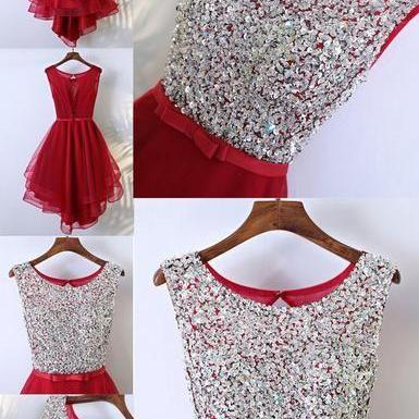 Red HI-Lo Sleeveless Round Neckline Bow Sash Key Hole Back Rhinestone Sequins Homecoming Dresses M4687